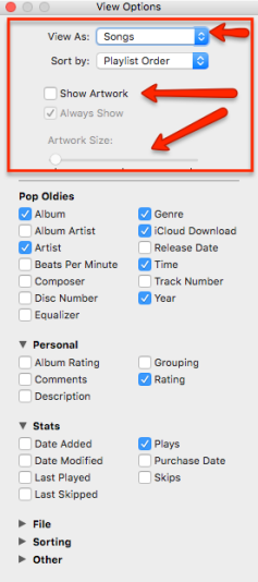 iTunesViewOptions